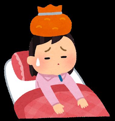 風邪で寝込む女性